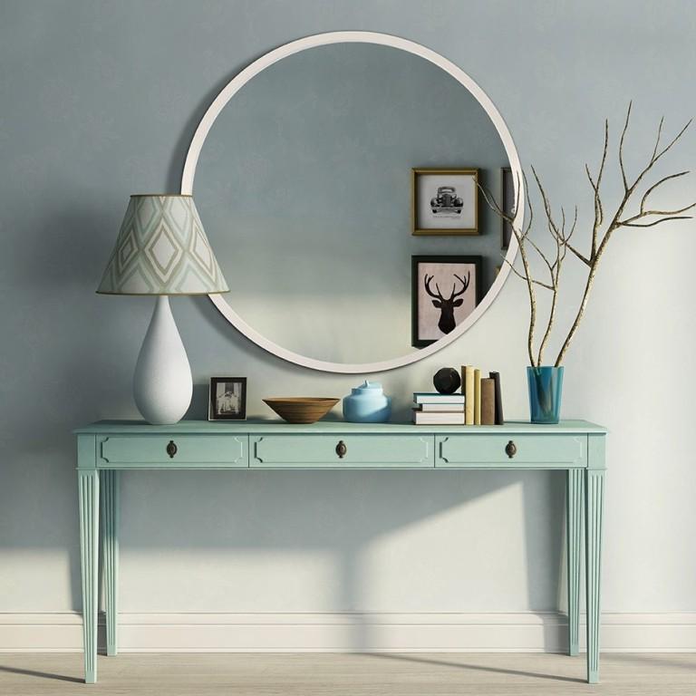 Espejo redondo estilo n rdico blanco centro espejos for Espejo redondo blanco