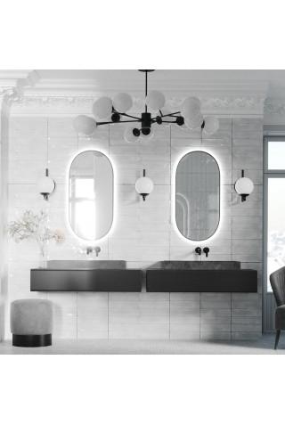 Espejo Ovalado Luz Integrada Marco Negro