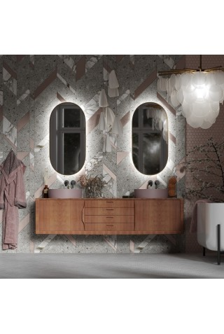 Espejo Ovalado Luz Integrada Marco Dorado