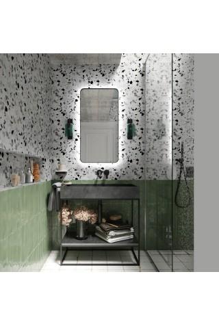 Espejo Retroiluminado Marco Negro Sven