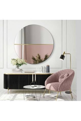 Espejo Redondo Decorativo Cristal Oro Rosa