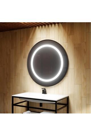 Espejo Redondo Con Luz Led y Marco Negro