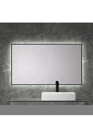 Espejo De Baño Marco Negro Retroiluminado