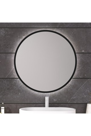 Espejo Redondo Retroiluminado Marco Negro