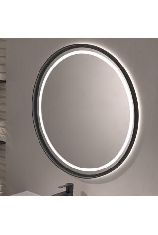 Espejo Redondo Con Luz LED Marco Negro