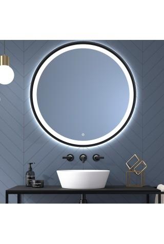Espejo Redondo De Baño Con Luz y Marco Negro