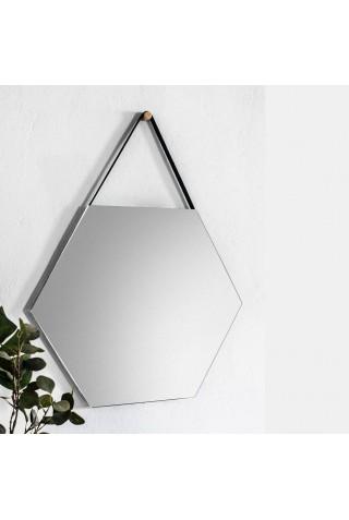 Espejo Hexagonal Con Correa De Piel