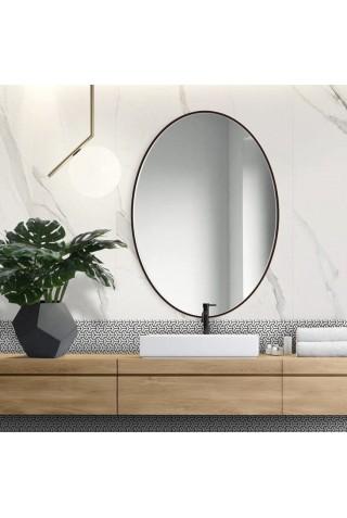 Espejo Ovalado Escandinavo Scandi Slim Negro