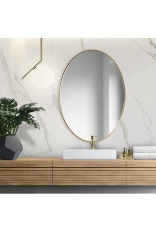 Espejo Ovalado Escandinavo Scandi Slim Dorado